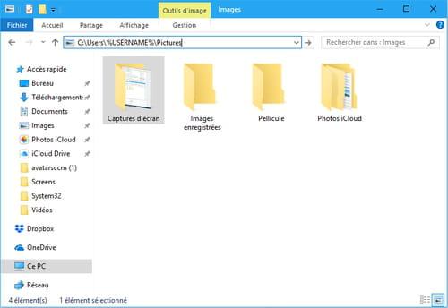Capture d'écran Windows 10