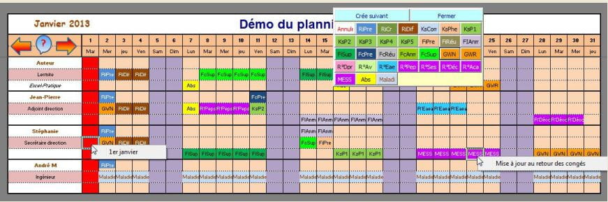 exemple planning horaire excel