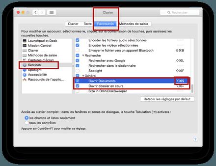 Cr er un raccourci pour ouvrir un dossier sous os x ou mac for Raccourci pour fermer une fenetre