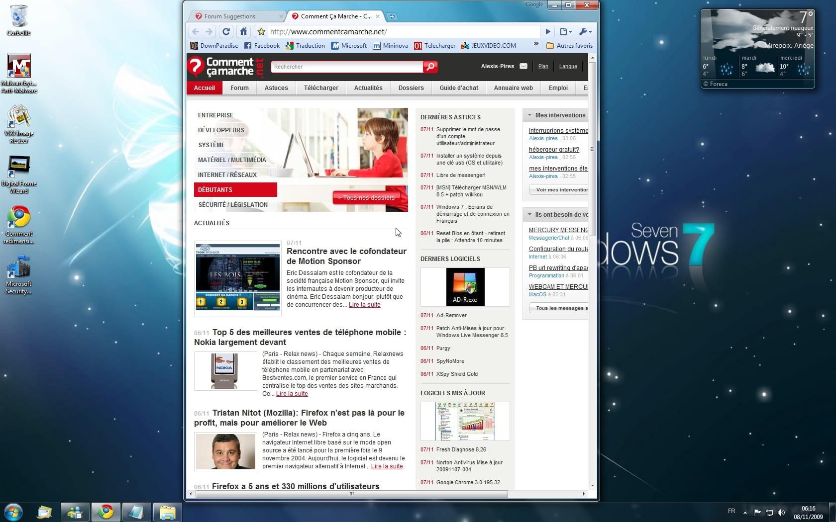 Les nouveaut s aero de windows 7 for Affichage fenetre miniature windows 7