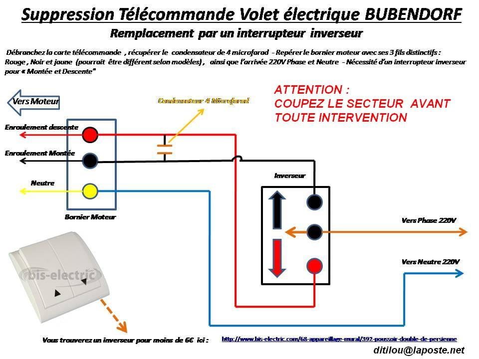 Suppression de la t l commande des volets bubendorff r solu - Branchement volet roulant electrique 4 fils ...