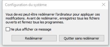 Redémarrer en mode sans échec / Windows 10