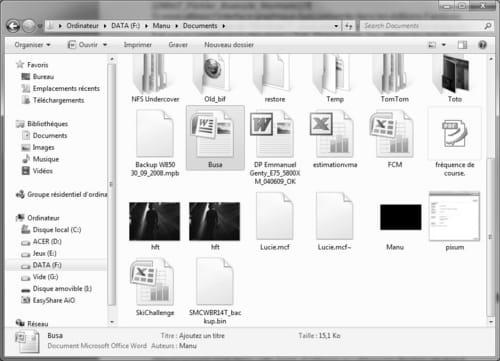 windows 7 dossiers et fichiers. Black Bedroom Furniture Sets. Home Design Ideas