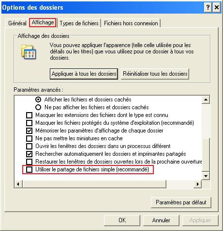 Windows xp professionnel afficher l 39 onglet s curit for Fenetre windows xp