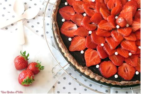Tarte chocolat et fraises