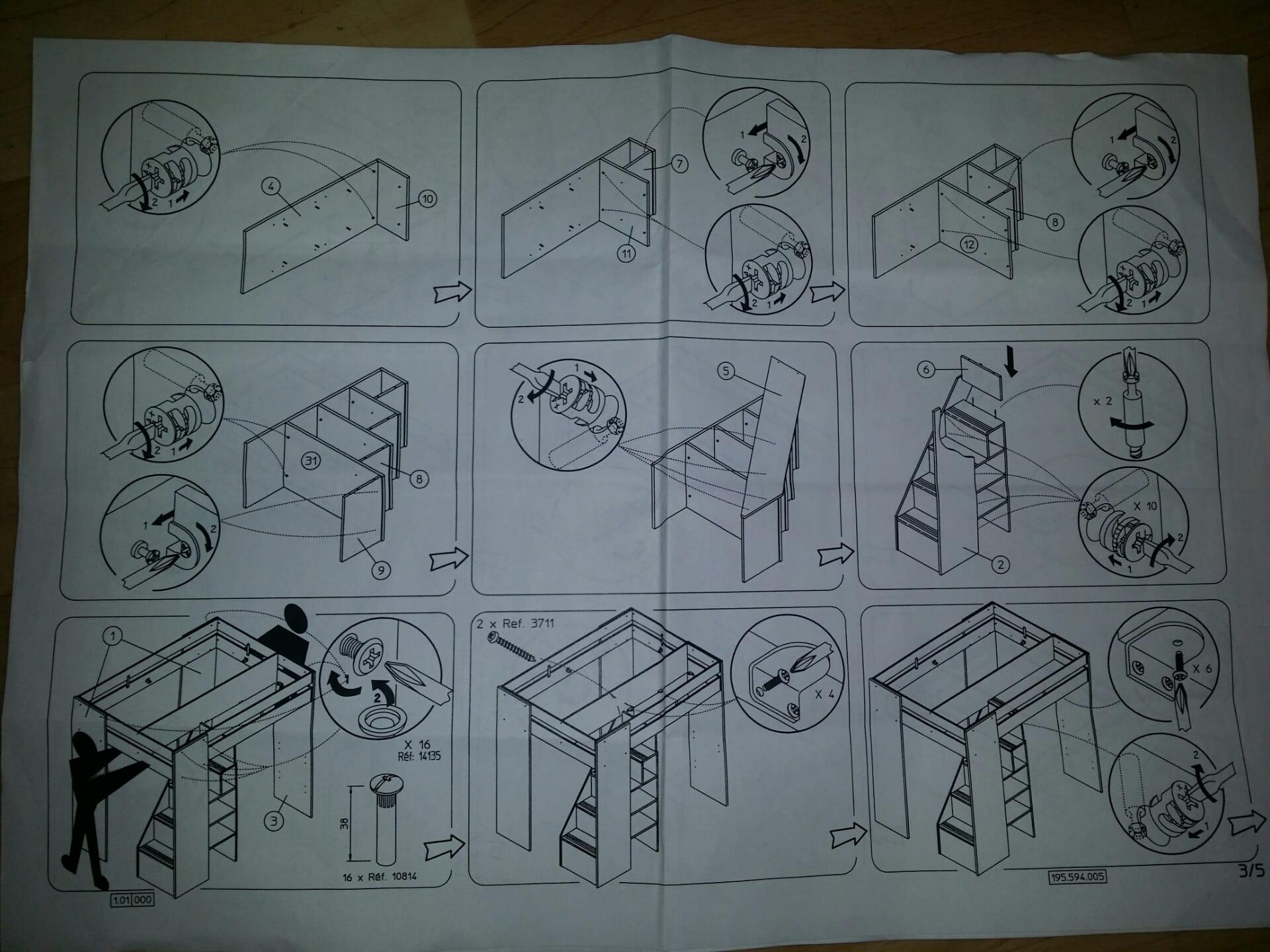 qui aurait la notice de montage du lit haut mezzanine montana. Black Bedroom Furniture Sets. Home Design Ideas