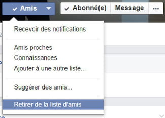 Supprimer un ami de Facebook via son profil