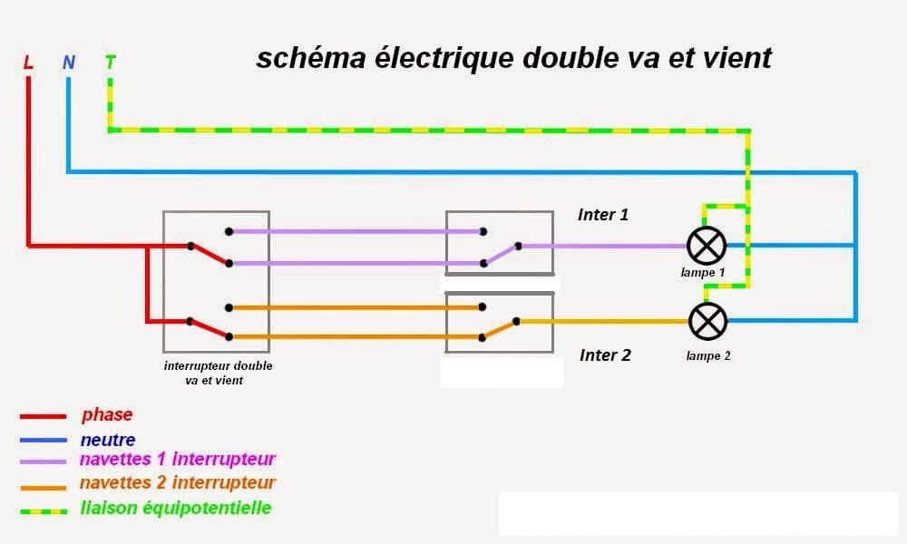 double va et vient avec deux interrupteurs simple r solu. Black Bedroom Furniture Sets. Home Design Ideas