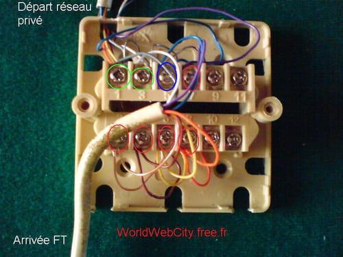 Comment faire branchement sur prise t l phonique 12 plots - Branchement prise telephone adsl 2 fils ...