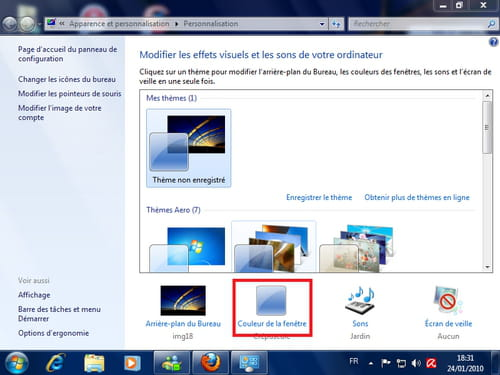 Windows 7 changer la couleur de la barre des taches for Fenetre windows 7 outils