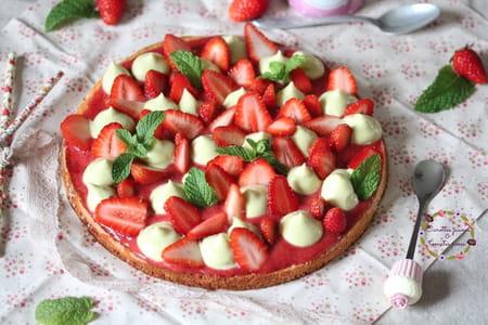 Tarte fraise et menthe