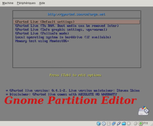 GParted (Gnome partition editor)