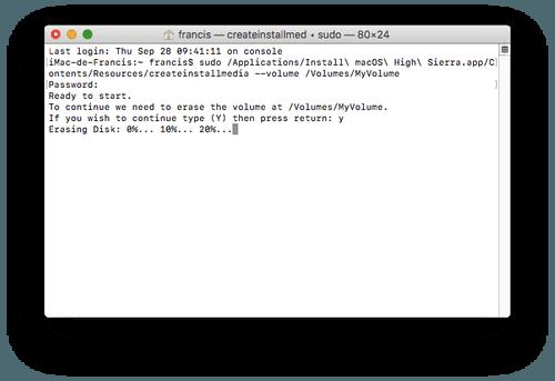 Créer une clé d'installation OS X High Sierra