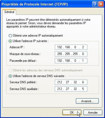 Propriétés du protocole internet (TCP/IP)