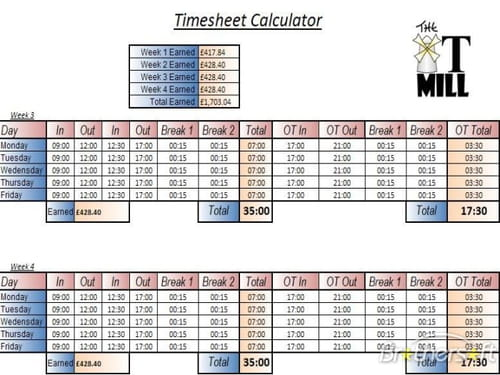 time sheet calc