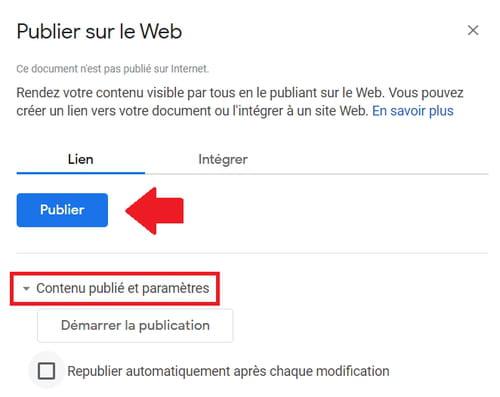 Partager des fichiers Google Docs, Sheets ou Slides sur le Web PRAT2