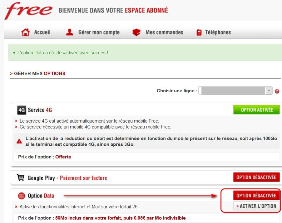 comment activer l option data free mobile