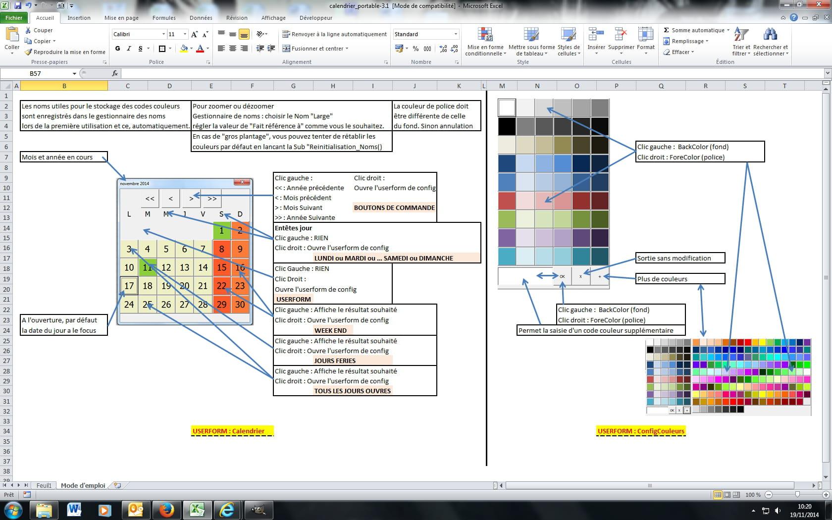 Vba Excel Toutes Versions Controle Calendrier Transposable