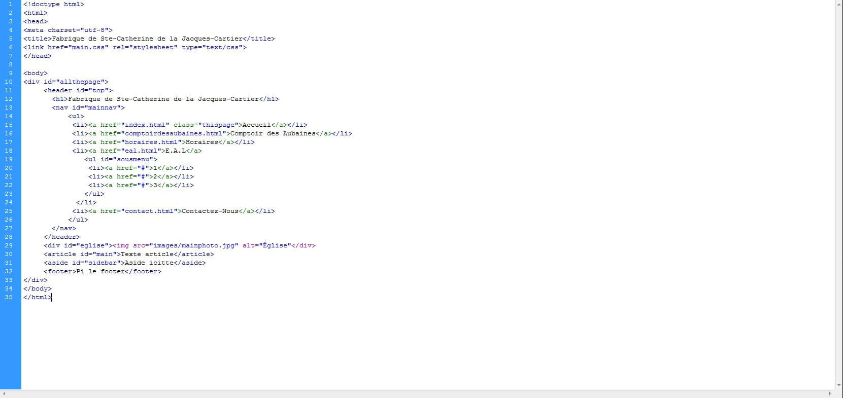 faire un menu en html css