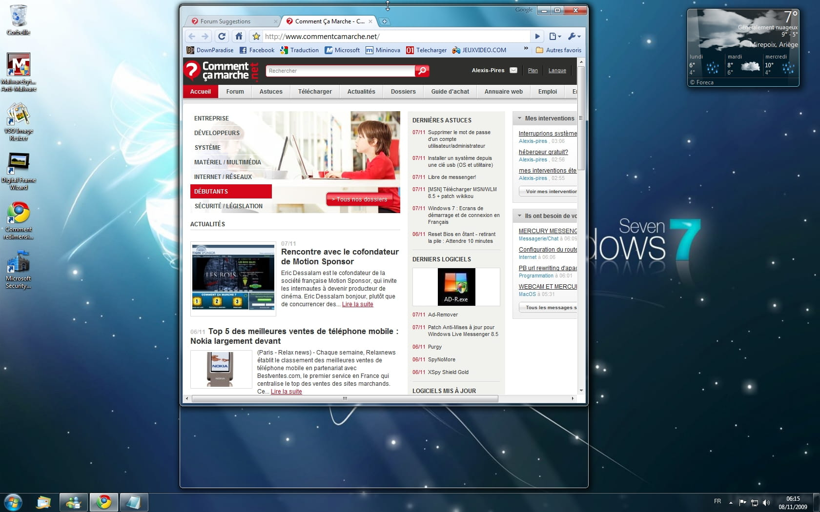 Les nouveaut s aero de windows 7 for Affichage fenetre miniature windows 7