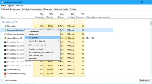 Explorer.exe dans le gestionnaire des tâches sous Windows