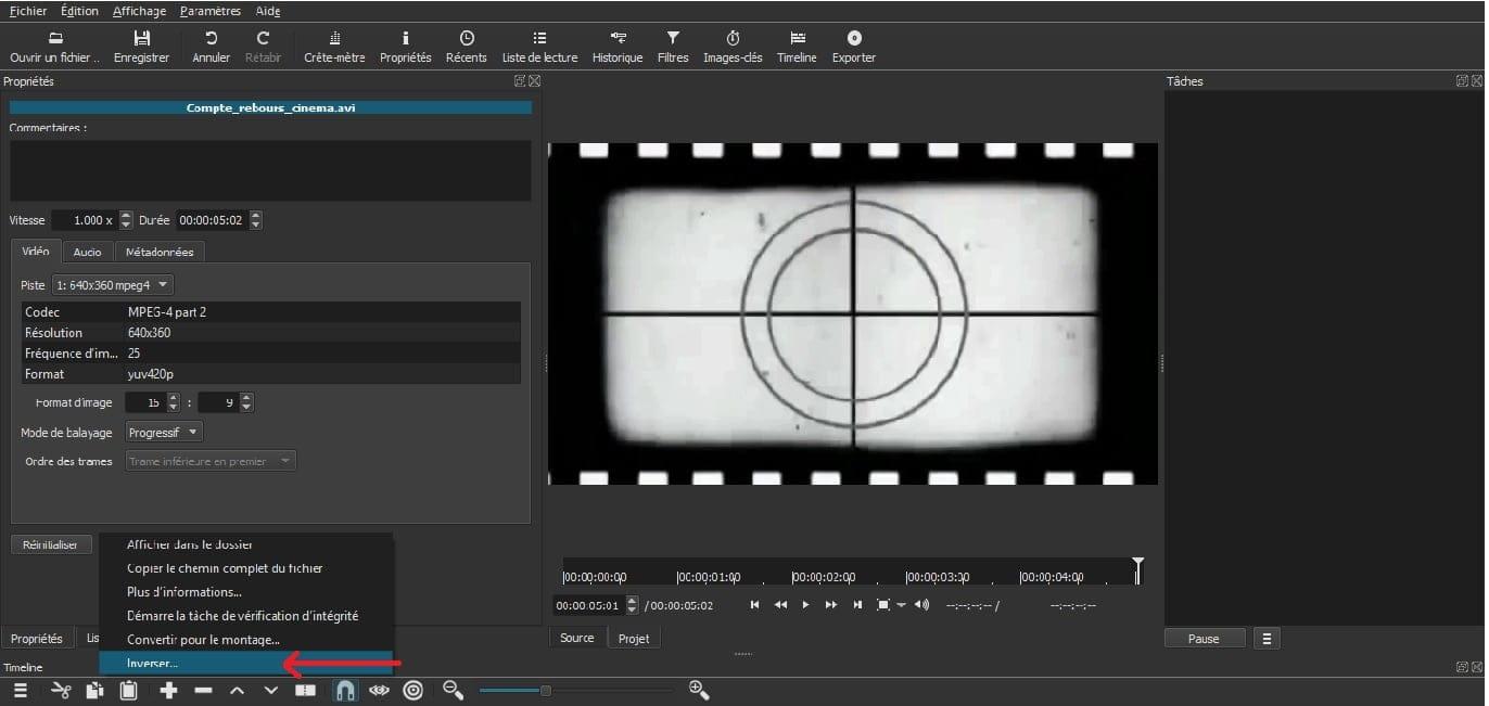 shotcut reverse video