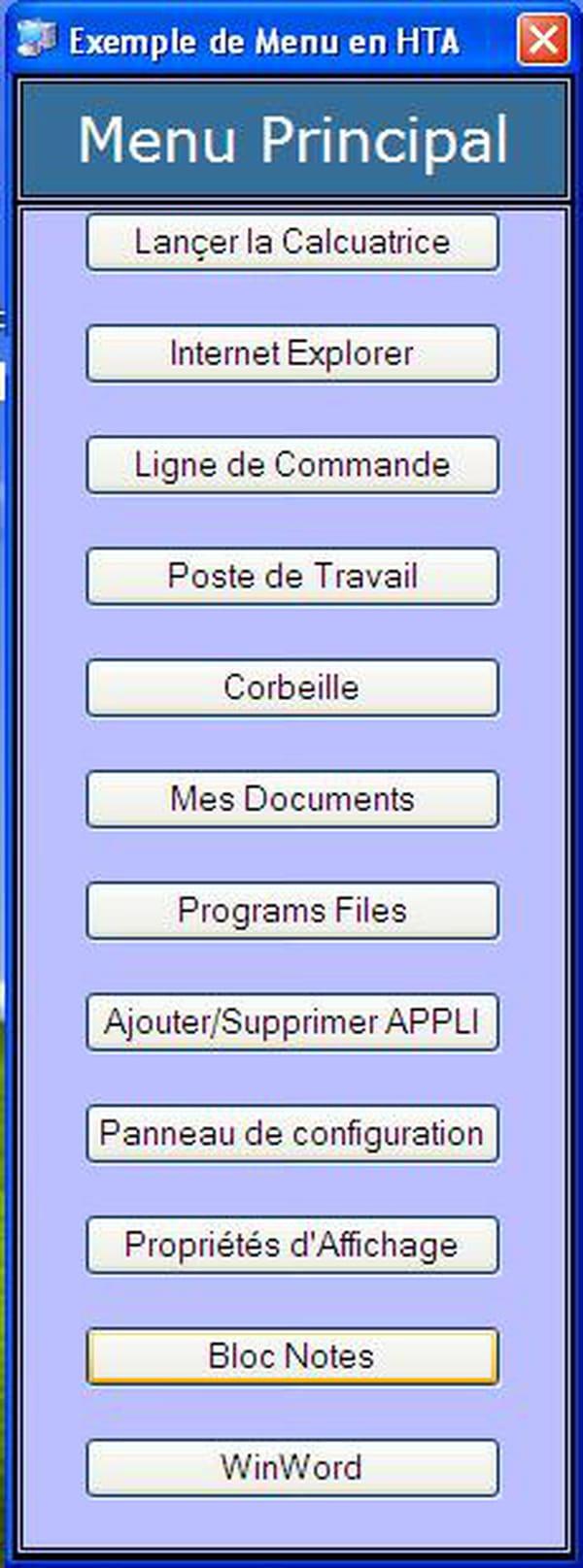 Visual Basic / VB NET : Exemple de menu en hta avec password et
