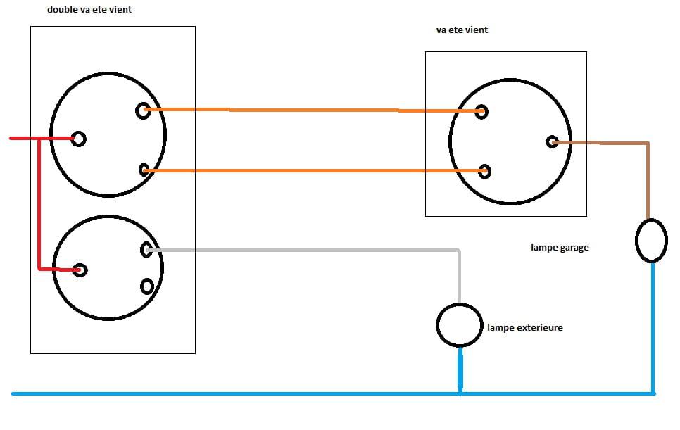 branchement double va et vient va et vient r solu forum electricit. Black Bedroom Furniture Sets. Home Design Ideas