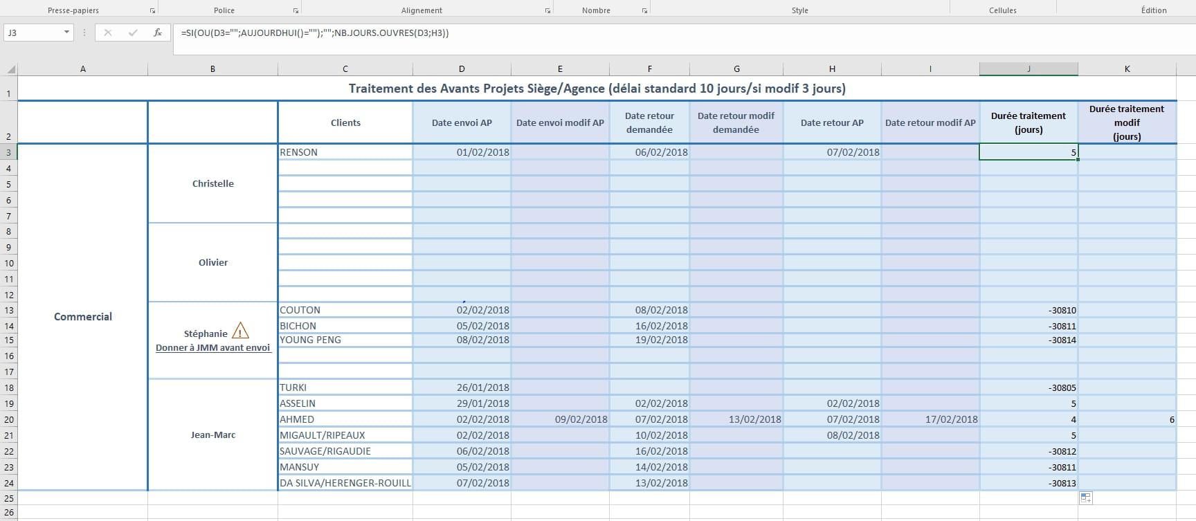 Tableau Excel Calcul Nb De Jours Ouvres Nombre Neg Resolu