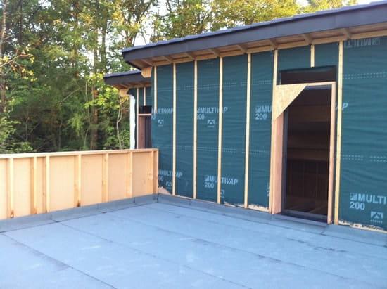 j 39 ai une maison ossature bois avec une partie toit terrasse dans le coin de l 39 ev r solu. Black Bedroom Furniture Sets. Home Design Ideas