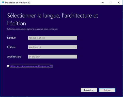 Media Creation Tool, selectionner la langue