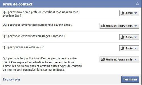 Empecher les gens de m'envoyer des messages sur facebook