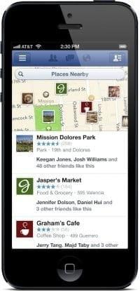 """L'application Facebook catégorise les lieux """"à proximité"""""""