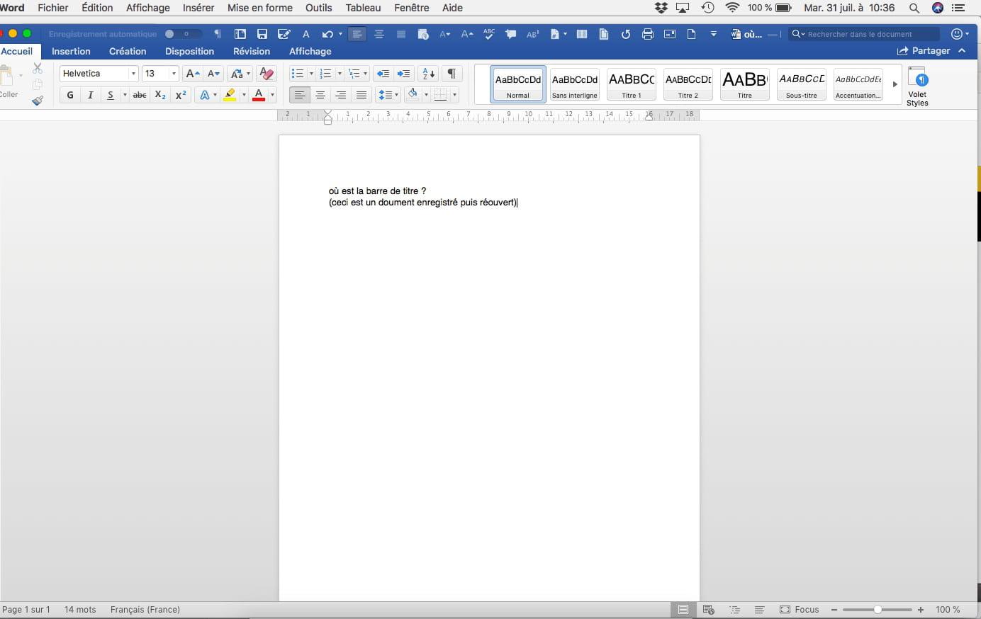 Pas de barre de titre dans les doc word 365 r solu - Office 365 comment ca marche ...