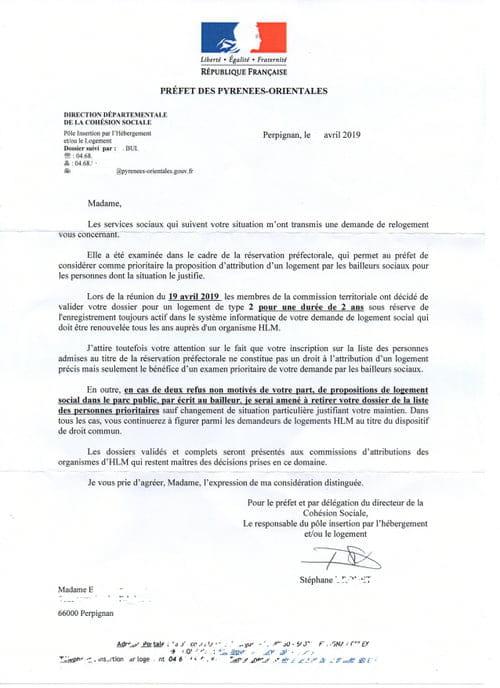 Lettre Relogement Préfecture étrange Droit Finances