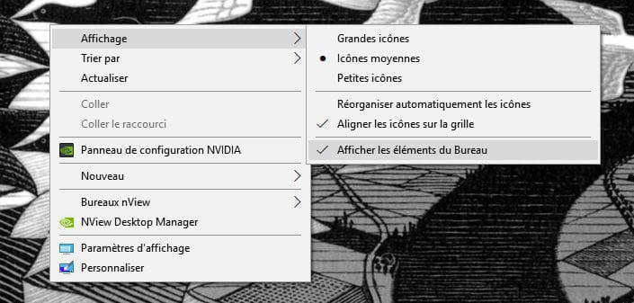 Disparition des icônes du bureau sous Windows 10 on