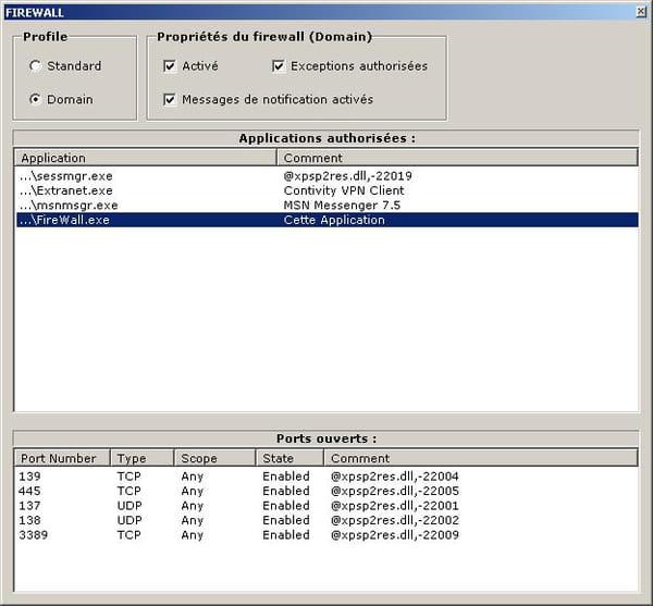 C Net Classe Permettant De Modifier Les Parametres Du Firewall