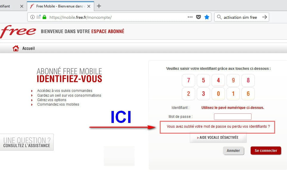 comment avoir son identifiant free mobile