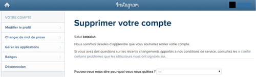 Confirmer la suppression du compte Instagram
