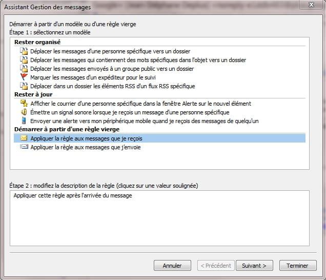 Règles de message texte pour la datation