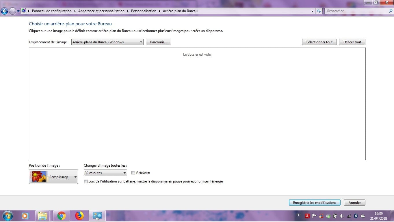 Choisir un arriere plan du bureau de windows for Windows 7 bureau vide