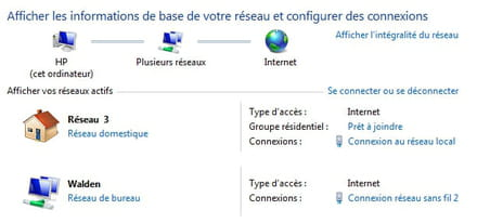 Passons maintenant à la configuration du PC équipé de Windows 7 (fonctionne également sous  Windows Vista). Ouvrez le menu Démarrer, saisissez Centre réseau et partage et  faites Entrée.Capture d'écran - Connexion par mot de passe au dossier partagé de MacOS X depuis  Windows 7.