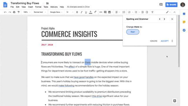 Google Docs : de l'IA pour sauver la grammaire
