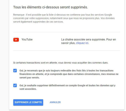 Supprimer le compte Youtube