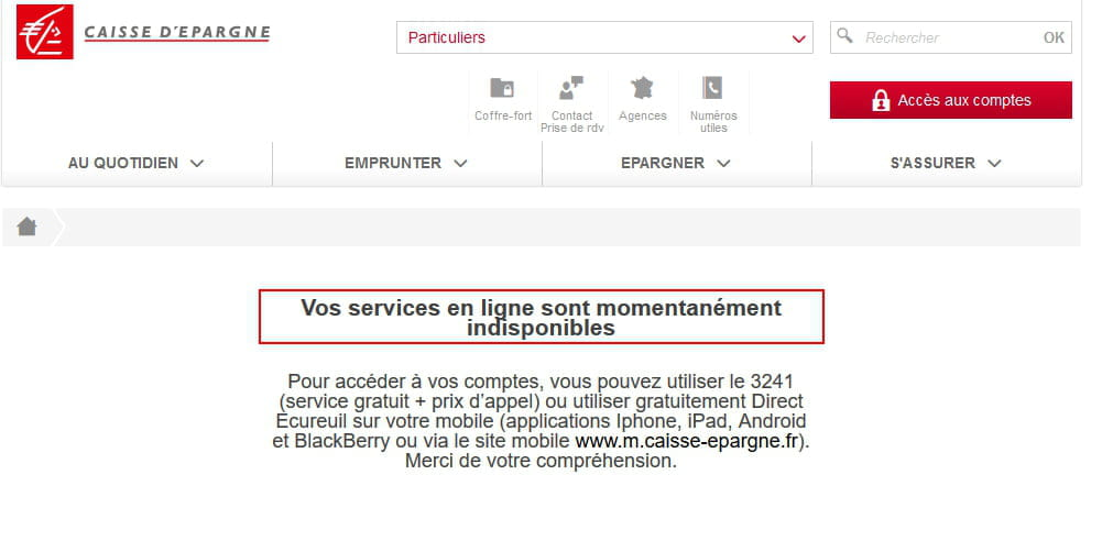 Site Caisse Epargne Indisponible Resolu
