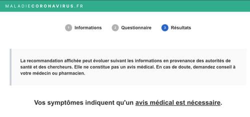 Coronavirus : faire un test de dépistage en ligne TEST-2