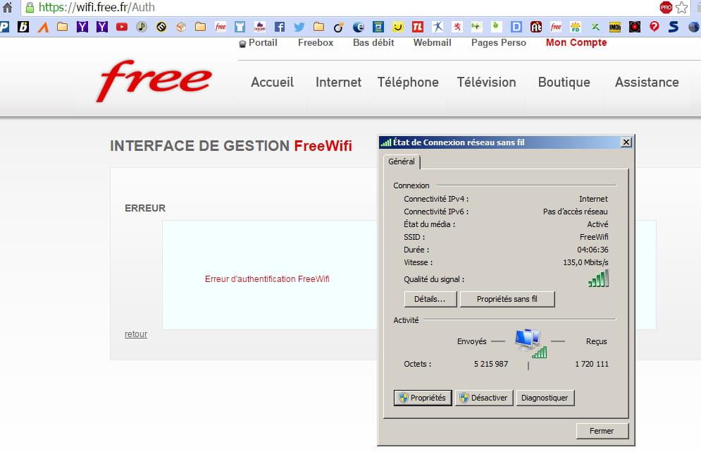 free wifi erreur vous etes deja connecte