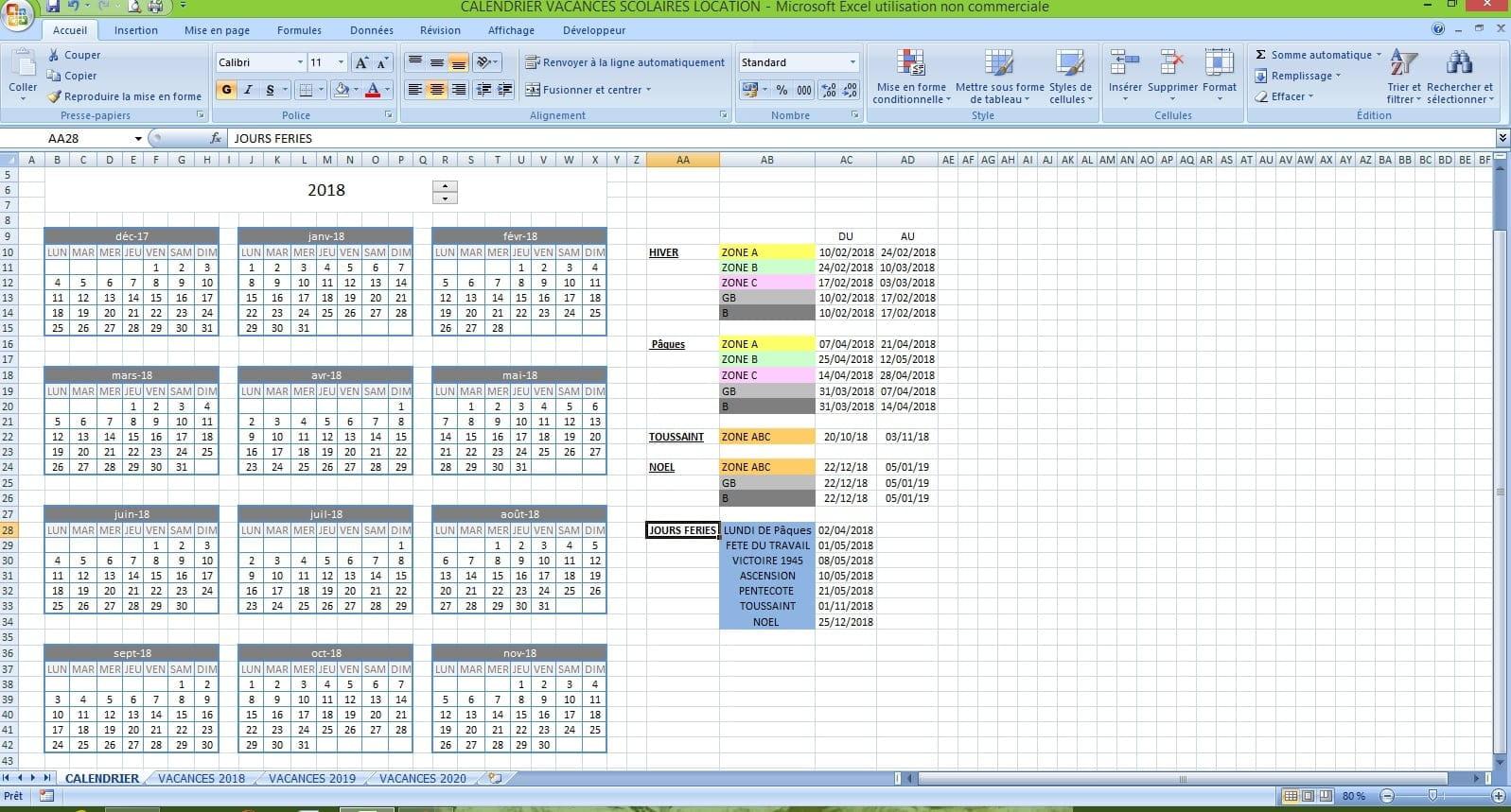 Faire Calendrier Excel.Fusionner Vacances Scolaires Ds Calendrier Excel