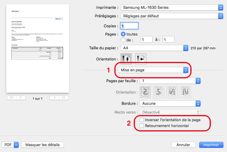Impression miroir r solu - Comment numeroter les pages open office ...