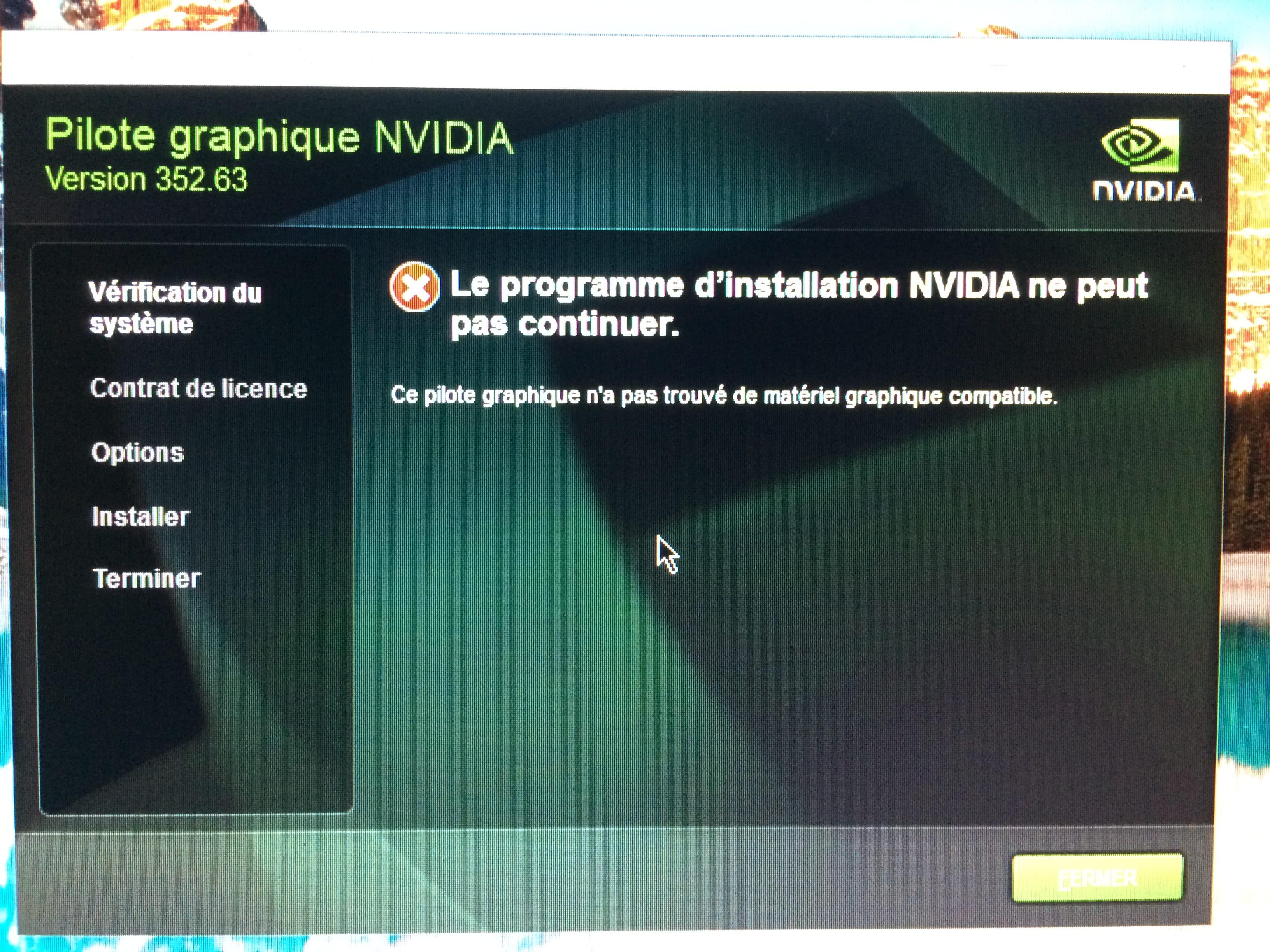 pilote carte graphique nvidia Problème driver de carte graphique nvidia avec windows 10   Carte